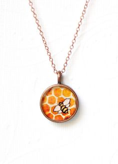 Honey Bee - copper bumble bee necklace, watercolor illustration .. https://www.etsy.com/listing/67794941/honey-bee-copper-bumble-bee-necklace?ga_search_query=bee#