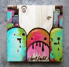 """Trio""  20 cm x 20 cm, Woodburning/Acrylic/Collage on wood"