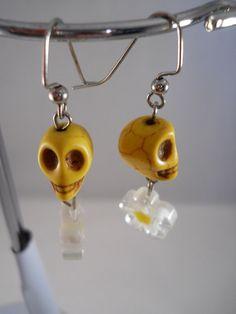 Skull Earrings Yellow Earrings Teen Jewelry Yellow Skull and Flower $11.25 AUD
