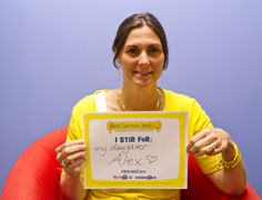 """Liz Scott stirs for her daughter, Alexandra """"Alex"""" Scott, Founder of Alex's Lemonade Stand Foundation.   Tell us who or what you """"stir"""" for by sharing your own @ToysRUs  #Stir4ACure photo! Download a sign at ToysRUs.com/AlexsLemonade"""