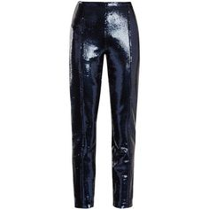 Diane Von Furstenberg Skinny sequin-embellished trousers found on Polyvore featuring pants, bottoms, trousers, pantaloni, navy, skinny pants, high waisted skinny trousers, tailored pants, navy blue skinny pants and blue sequin pants
