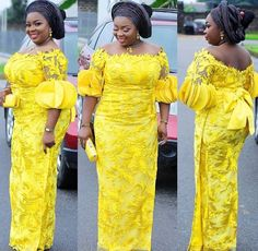 Latest Asoebi Lace For The Weekend My styles Latest African Fashion Dresses, African Dresses For Women, African Print Fashion, African Attire, African Prints, Modern African Dresses, African Fashion Designers, Ankara Fashion, Africa Fashion