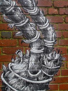 Street Art News: Phlegm creates a new piece in the woods around Sheffield Street Art News, Street Artists, Green Man, Sheffield, Urban Art, Rue, Graffiti, Around The Worlds, Halloween