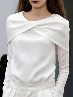 White Simplicity - crossover top, runway fashion details // Derek Lam Fall 2013