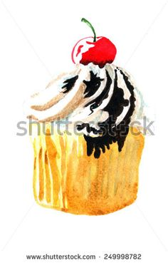 Cupcake. Hand drawn watercolor painting on white background. - stock photo