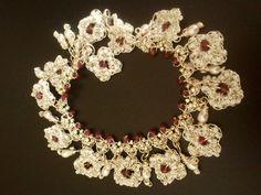 #silver lace bracelet,wedding,dangling,rhodolite garnet,pearl$148.00
