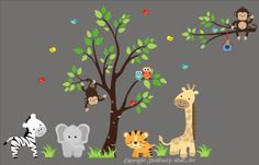 "Baby Nursery Wall Decals Safari Jungle Childrens Themed 83"" X 138"" (Inches) Animals Trees: Repositionable Removable Reusable Wall Art: Better than vinyl wall decals: Superior Material"