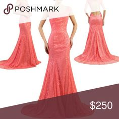 Long Mermaid lace dress Long Mermaid Evening Dress. Sexy Open Back Watermelon Red Lace Women Formal Party Gowns Brand new with tags. Available in size 6. If you want another color please ask.  I can special order for you. Dresses Backless