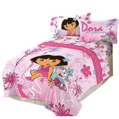 Dora the Explorer Playful Garden Twin Comforter Dora And Friends, Twin Comforter, Bedding, Flat Bed, Bed In A Bag, Dora The Explorer, Future Baby, Future House, Bed Sheets
