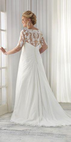bonny bridal plus size wedding dress with lace sleeves / http://www.himisspuff.com/plus-size-wedding-dresses/5/
