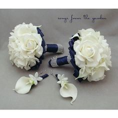 Navy Blue Bridal Bouquet, Mint Green Wedding Flowers - Polyvore