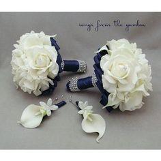 Navy Blue Bridal Bouquet, Mint Green Wedding Flowers - Polyvore