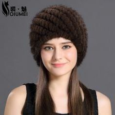 d36889f2856 Qiumei Mink Fur Hat Women With Natural Real Fur Female Cap Women s Winter  Hat Mink Fur Real Knitting Cap Pineapple Hat Hold Ear