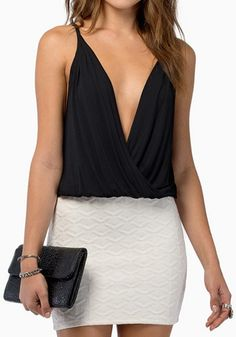 Love Black and White! Sexy Black Plain Sleeveless Plunging Neckline Chiffon Tank Top! #Sexy #V_Neck #Fashion
