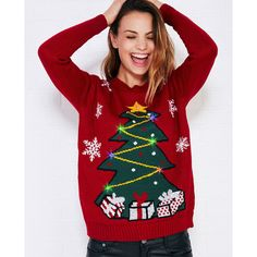 Light-Up Christmas Tree Sweater ($27) ❤ liked on Polyvore featuring tops, sweaters, red, crewneck sweater, holiday tops, christmas sweater, snowflake sweater and long sleeve tops
