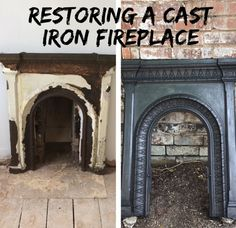 Restoring a cast iron fireplace – how to – Priory Lawn - Victorian house ren. - Restoring a cast iron fireplace – how to – Priory Lawn – Victorian house renovation – spare - Cast Iron Fireplace Bedroom, Old Fireplace, Fireplace Surrounds, Fireplace Ideas, Victorian Fireplace Mantels, Cast Iron Fireplace Insert, Vintage Fireplace, Rustic Fireplaces, Farmhouse Fireplace
