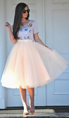 Cream of The Cream Printed Tee and Cream Tulle Skirt by For All Things Lovely