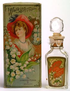 Watkins Lily of the Valley perfume, J.R. Medical Co.~This company grew out of the sale of home brewed medical products by Joseph Ray Watkins. He  cooked up the remedies in the family's kitchen and hit the road to sell them in Plainview, MN. The company flourished and is now called Watkins Products.