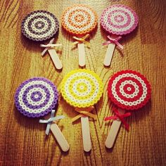 Lollipops perler beads by sayopitto Fuse Bead Patterns, Perler Patterns, Beading Patterns, Candy Themed Party, Retro Candy, Hama Beads Design, Peler Beads, Bead Kits, Chocolate Factory