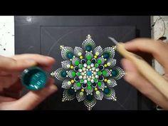How to paint mandala for BEGINNERS!!#8 Green and Yellow Flower Tutorial!(medium hard) - YouTube