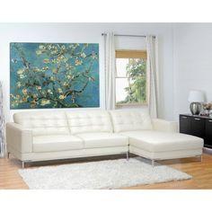 Wholesale Interiors Babbitt White Leather Sectional Sofa