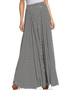 B/w striped maxi. Obviously comfortable and appropriate for anything. I wish I could post a close-up of the waist--I want to figure out how they cut the panels to create those natural pleats. @Jennifer Gardner, any ideas?
