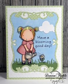Paper piecing, Pure Innocence Blooming Good Day stamp, Copics, Memory Box