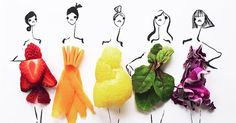 Fashion Illustrator Completes Her Dress Sketches With Food | Bored Panda
