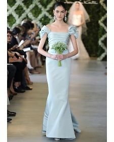 New blue wedding dresses by top designers' Spring 2013 bridal runway collection.