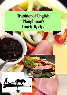 This traditional English #ploughmans recipe boasts cheese, bread, pickles and more. This is a hearty, delicious, somewhat retro lunch option!