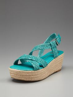 tried these on in the cognac brown at a sample sale and didnt get them bc i wanted turquoise. annoyed because now theyre sold out. AND THEY WERE SO COMFORTABLE. ugh bad judgement me. // Dolce Vita Persephone #wedge #espadrille #sandal on Gilt for $49