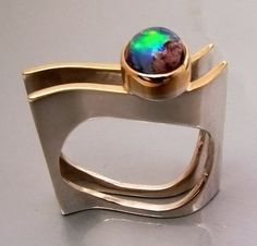 Ring | Stefano Dimalta.  22k gold, fine silver and fire opal.