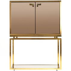 Brass and Tinted Glass Dry Bar | From a unique collection of antique and modern dry bars at http://www.1stdibs.com/furniture/storage-case-pieces/dry-bars/