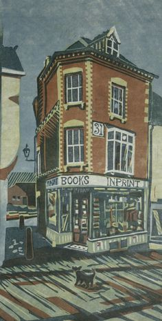 Coyote Atelier printmaking inspiration: The Bookshop. 4 Block Linocut Print by Steven Hubbard 2008.