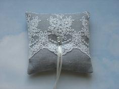 Cojín anillo de boda Lino gris. Almohadilla del anillo.