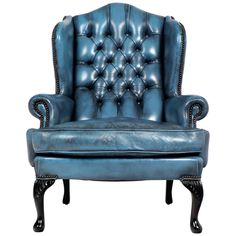 Vintage Steel Blue Leather Chesterfield Wingback Armchair - England - c1940s