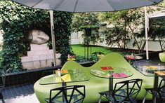 We are a global and creative design studio in Geneva, Tokyo and Beijing. Paris France Food, Green Sofa, Square Tables, Garden Trees, Furnitures, Garden Furniture, Benches, Hospitality, Stools