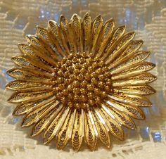 Vintage Sterling Silver with Gold Wash Sunflower Brooch Made in Portugal