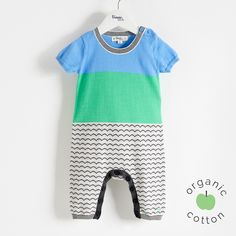 The Bonnie mob SS16 - The Life Aquatic.  GUPPY Organic Cotton Blue Baby Playsuit/Romper. A monochrome waves jaquard mixed with a bold colourblock make this short sleeve with long leg length, lightweight 14 gauge knit playsuit, a must for spring.