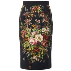 DOLCE & GABBANA Floral-print cady pencil skirt ($528) ❤ liked on Polyvore featuring skirts, black, flower print pencil skirt, floral knee length skirt, dolce&gabbana, flower print skirt and floral print skirt