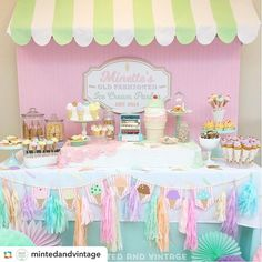 Old fashioned ice cream parlor dessert table from @mintedandvintage…