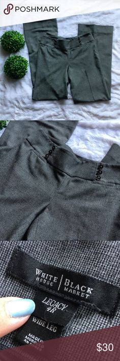 """White House Black Market Gray Wide Legged Trousers White House Black Market gray wide leg trousers in like new condition. Size 4, 40.5"""" long, 33"""" inseam, and a 32"""" waist. Side zipper closure. No flaws at all. I'm only looking to sell at this time so sorry but no trades. My listing price is firm. White House Black Market Pants"""