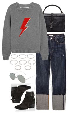 """""""Untitled #11147"""" by nikka-phillips ❤ liked on Polyvore featuring Yves Saint Laurent, The Elder Statesman, Forever 21 and Acne Studios"""
