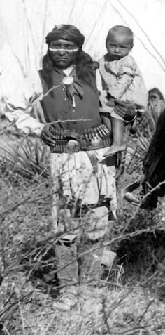 Perico and child - Apache - 1886.  ~~Come to Southeastern Arizona and stay at the Hummingbird Ranch Vacation House in Pearce AZ and learn more about the Apache history. http://vacationhomerentals.com/68121 See where Geronimo & Cochise once lived in The Sulphur Springs Valley.  520-265-3079