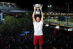 Stan Wawrinka holds aloft the trophy after winning the men's singles title. Tennis Australia, Stan Wawrinka, Tennis Tournaments, French Open, Australian Open, Solomon, Wimbledon, The Man, Melbourne