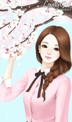 Enakei y manga illustration, anime korea, korean anime, lovely girl image, girls Girl Cartoon Characters, Cartoon Girl Images, Cute Cartoon Girl, Anime Girl Cute, Anime Art Girl, Beautiful Girl Drawing, Cute Girl Drawing, Beautiful Anime Girl, Cute Love Wallpapers