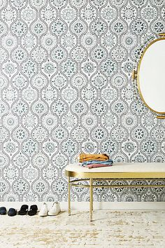 looks like pretty patterned tiles on the wall // Anthropologie Antoinette Wallpaper // (affiliate)
