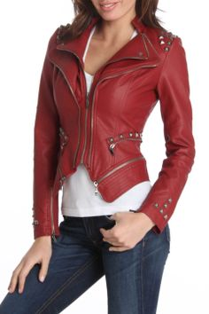 TCEC Joan Faux Leather Jacket in Burgundy - Beyond the Rack