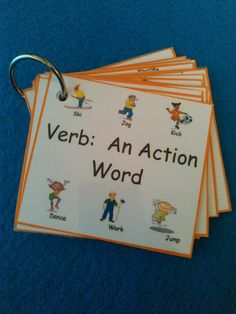 Verbs Flash Cards, Verbs Flashcards, Verbs, LAMINATED, Sight Words, Kids Education, Montessori, Home School, First Grade, Second Grade, Ring