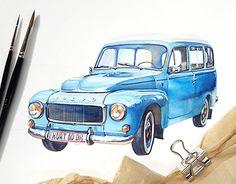 Retro car Volvo B18-210. Watercolor illustration by Kateryna Savchenko